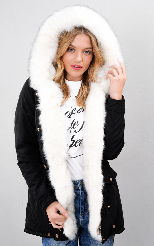 White Faux Fur Trim Hooded Parka Coat Black by LILY LULU FASHION