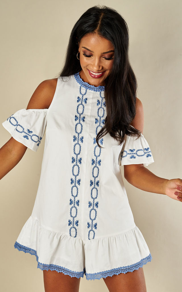 WHITE SPELLGIRL EMBROIDERY ROMPER by Foxie Dox