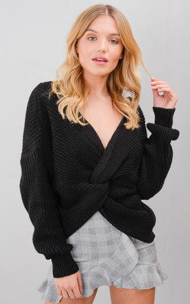 Twist Knot Front Knitted Jumper Black by LILY LULU FASHION