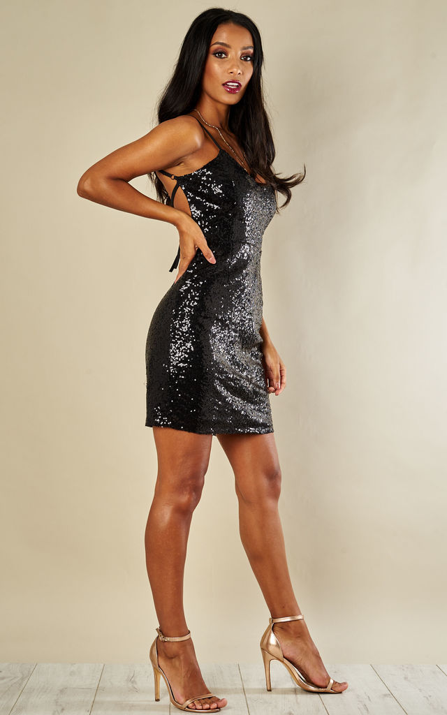 Black sequin backless strappy dress by Phoenix + Feather
