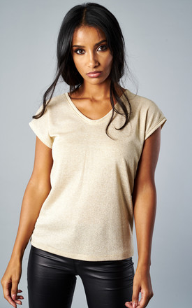 Gold Short Sleeve V Neck Lurex Top by ONLY Product photo