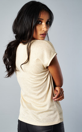 GOLD SHORT SLEEVE V NECK LUREX TOP by ONLY
