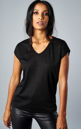 BLACK SHORT SLEEVE V NECK LUREX TOP by ONLY