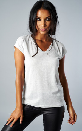 SILVER SHORT SLEEVE V NECK LUREX TOP by ONLY