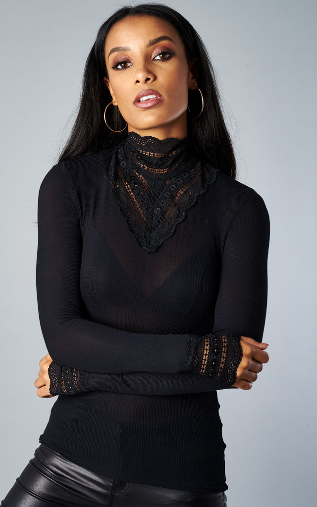 BLACK LACE HIGH-NECK BLOUSE by ONLY