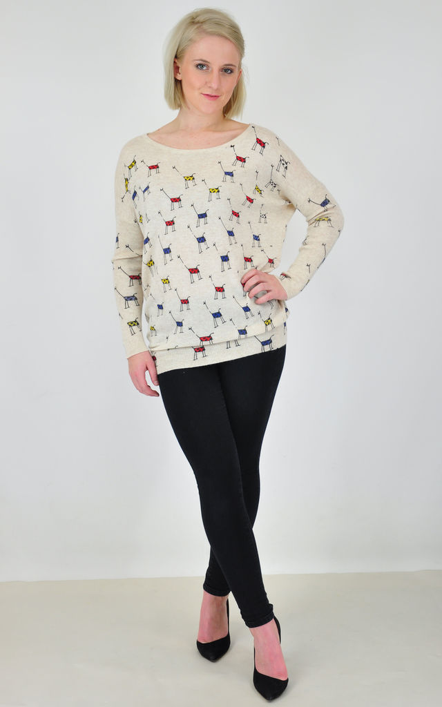 Cream Oversized Jumper in Multicolour Giraffe Print by GOLDKID LONDON