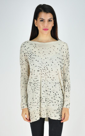 Cream Oversized Jumper with Black Swallow Bird Print by GOLDKID LONDON