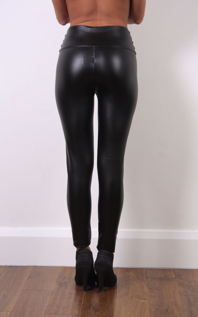 PVC Stud Leggings Black by Pink Flame UK
