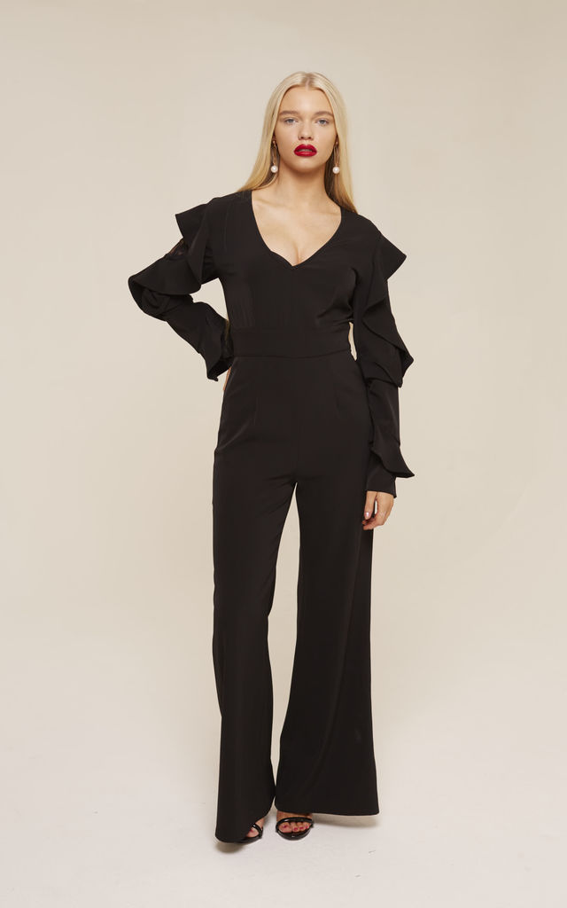 UNIQUE21 Black Tailored Jumpsuit with Ruffle Sleeves by UNIQUE21