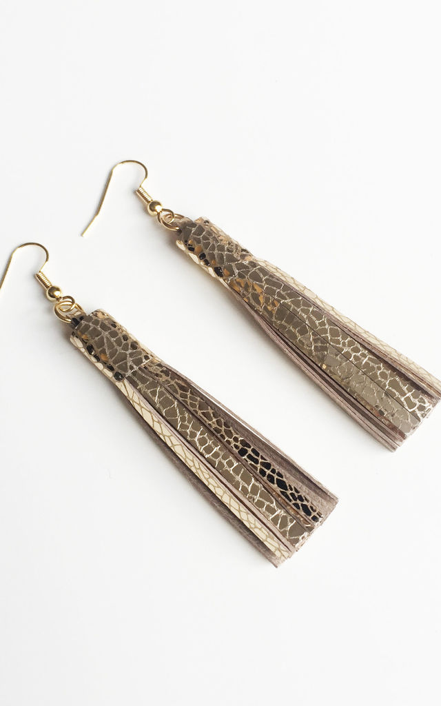 Gold Leather Tassel Earrings by Isabel Wong