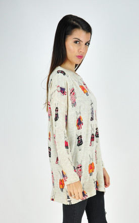 Oversized Jumper in Cream Print by GOLDKID LONDON