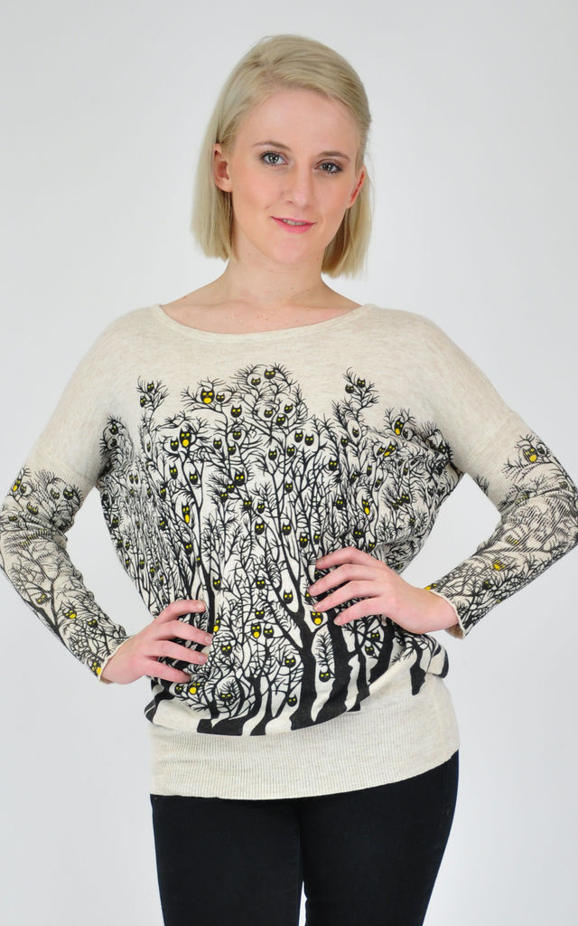 Cream Oversized Jumper with Owl and Forest Design by GOLDKID LONDON