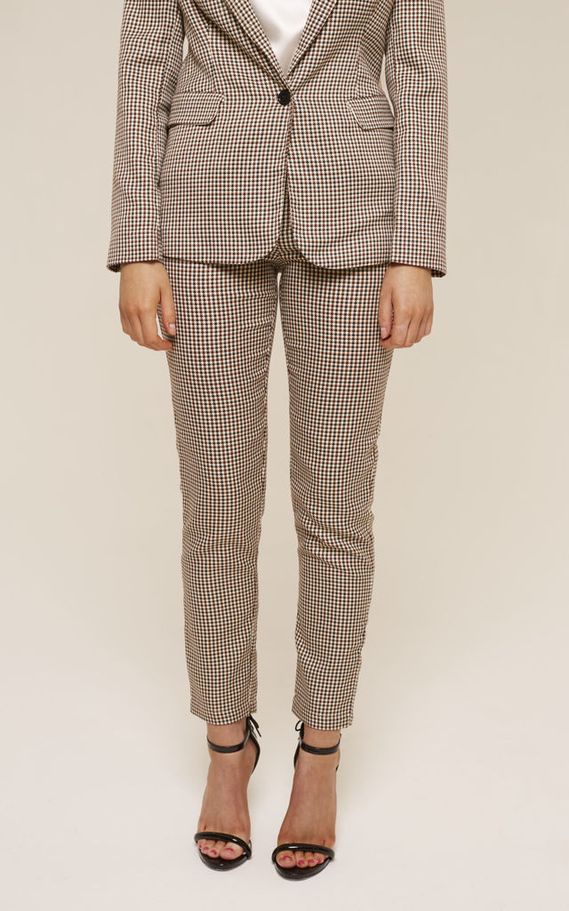 Tailored Nude Houndstooth Trousers by UNIQUE21