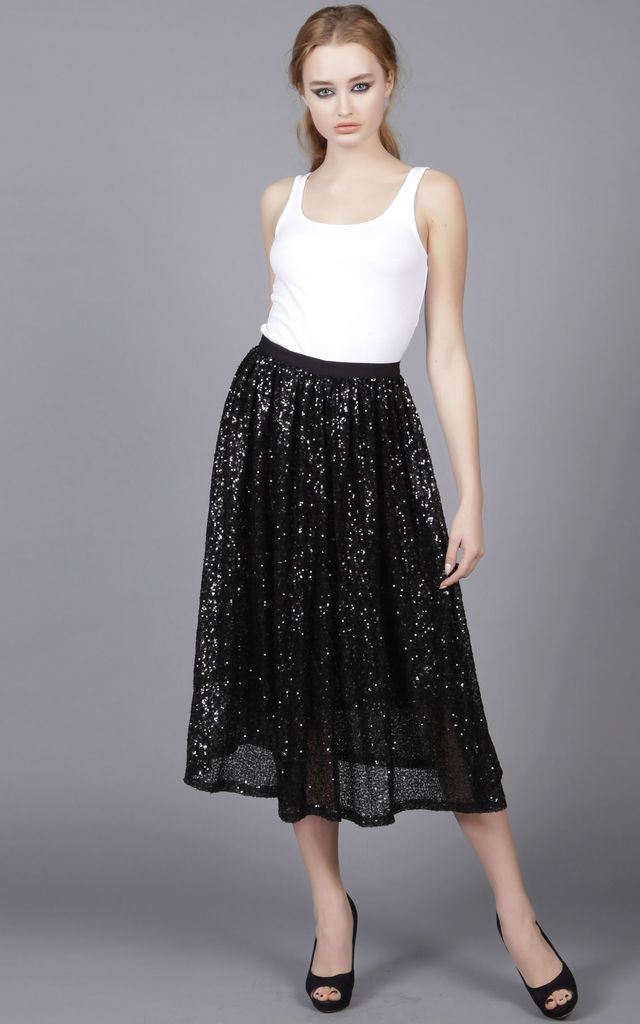 Gathered Sequin Skirt by Cutie London