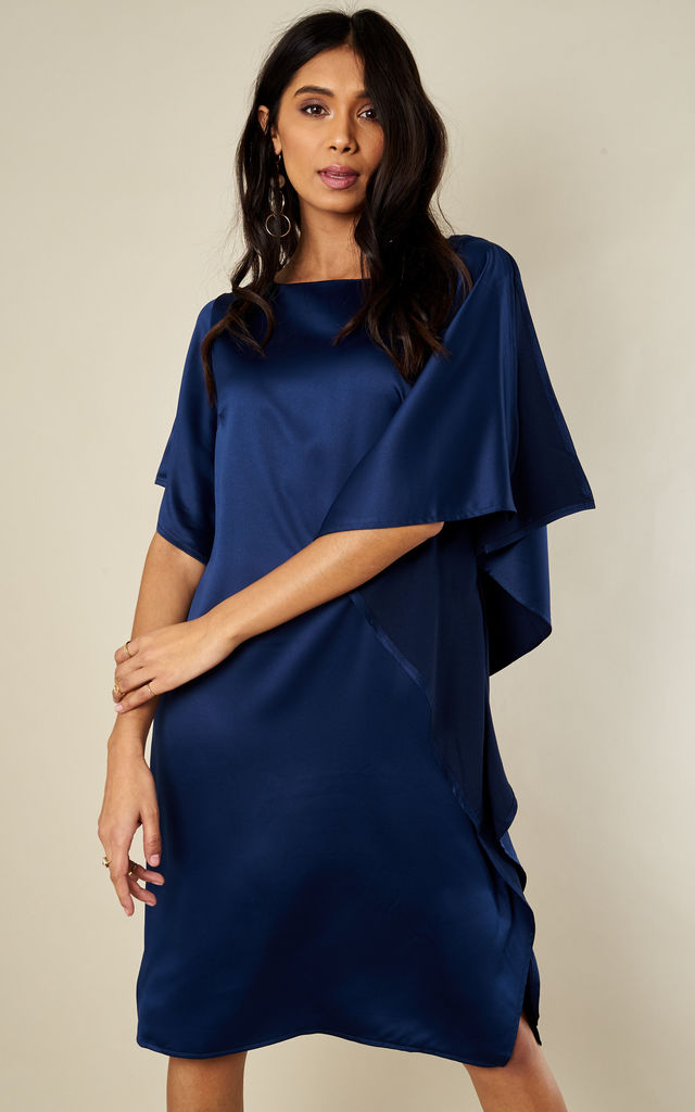 NAVY RUFFLE SIDE DRESS by Lilah Rose