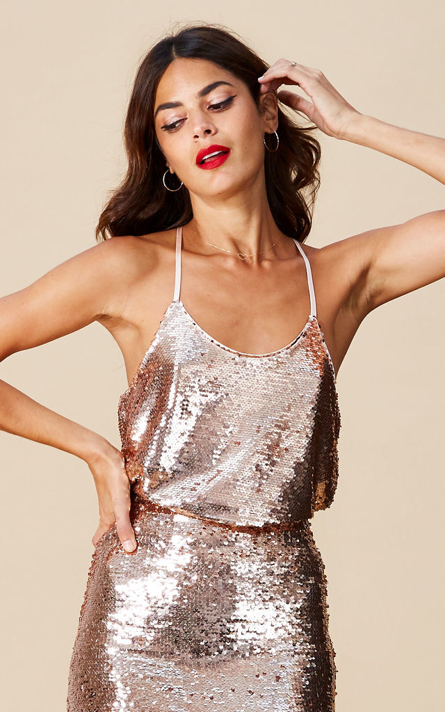 COSMOS CAMI TOP IN ROSE GOLD  image