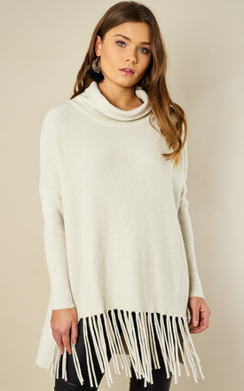 Cream Roll Neck Tassel Bottom Jumper by Bella and Blue Product photo