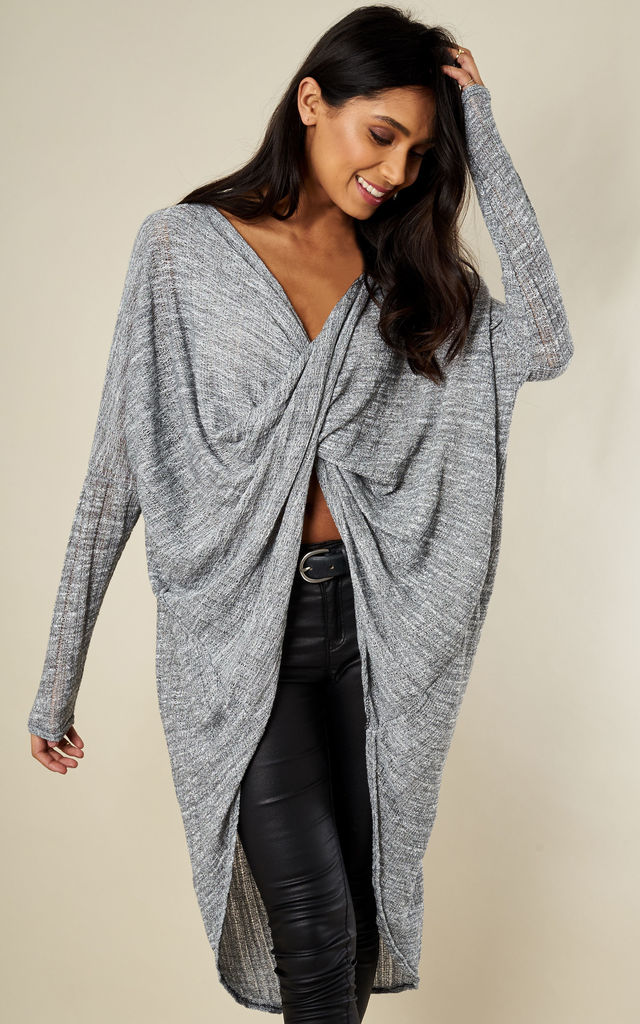 Dark grey Knitted Crossover Top by Bella and Blue