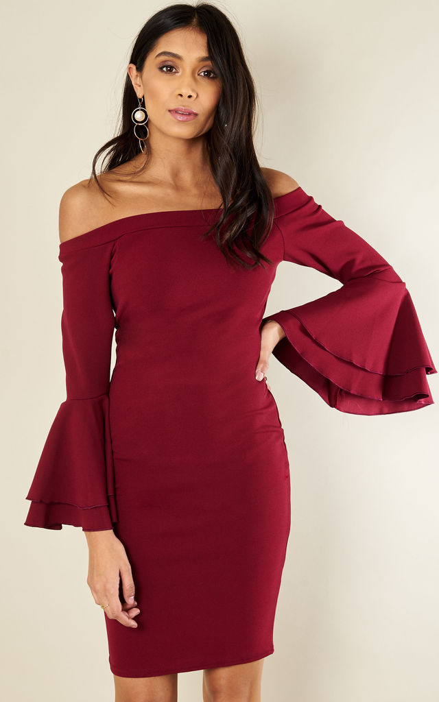 Wine Frill Bardot Bodycon Dress by Bella and Blue