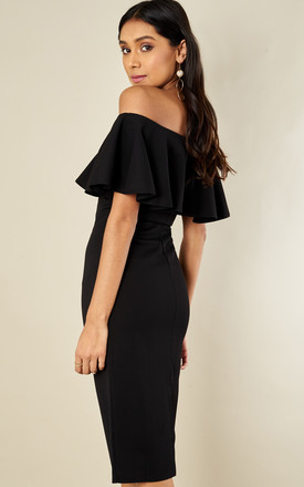 Black Off The Shoulder Frill Midi Dress by Lilah Rose
