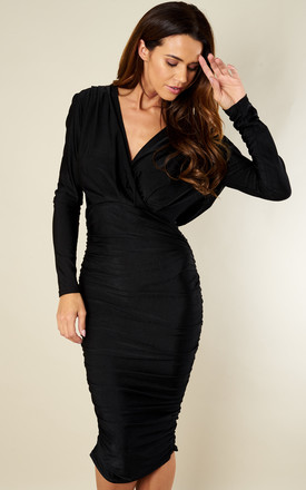 Black V Neck Slinky Midi Dress by AX Paris Product photo