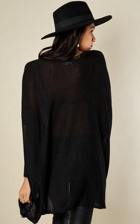 Black Lurex Baggy Fine Knit Jumper by Lilah Rose