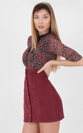A-line Faux Suede High Waist Buttoned Mini Skirt by MISSTRUTH