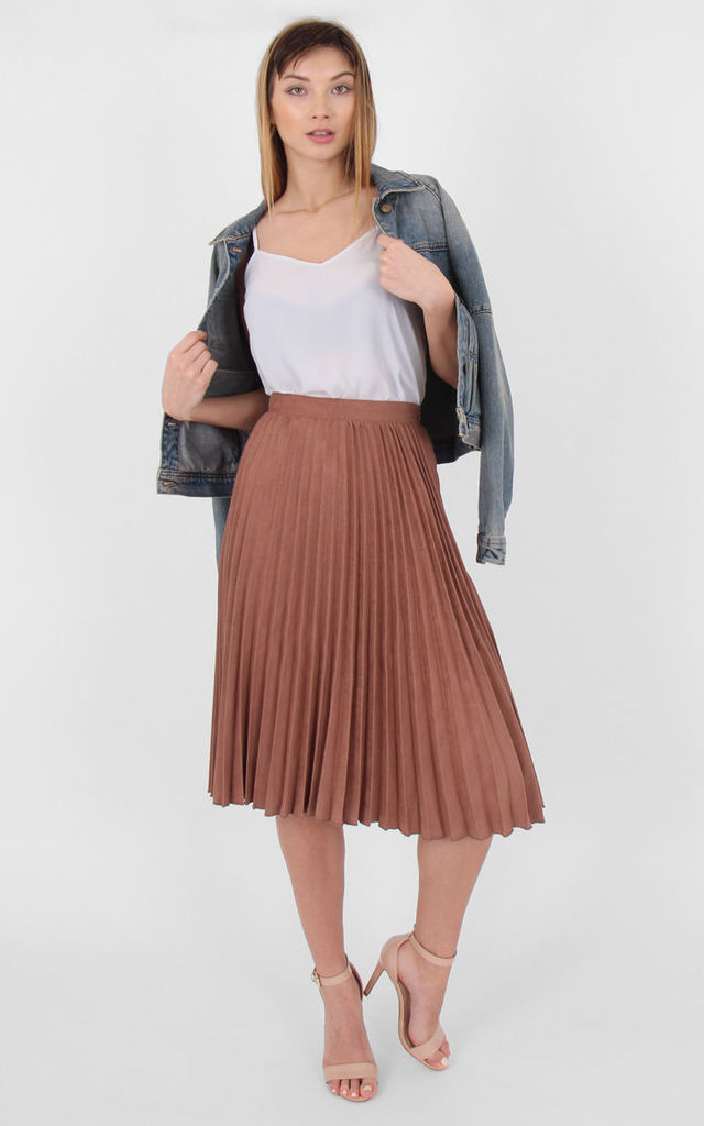 High Waist Faux Suede Pleated Midi Skirt by MISSTRUTH