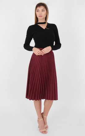 Wine Faux Suede High Waist Pleated Mini Skirt by MISSTRUTH