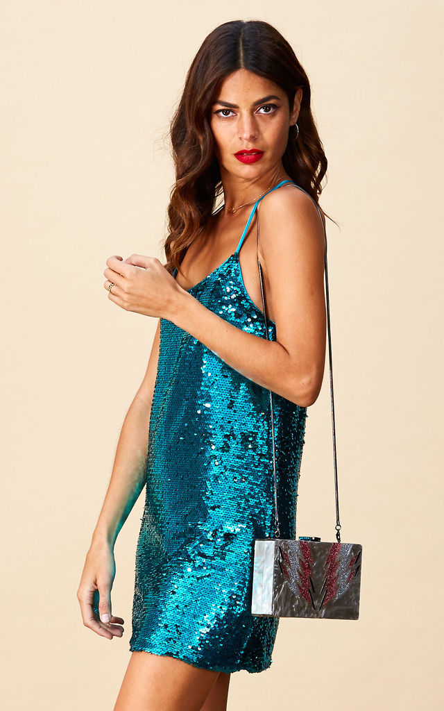 ANOOKI DRESS IN TEAL  image