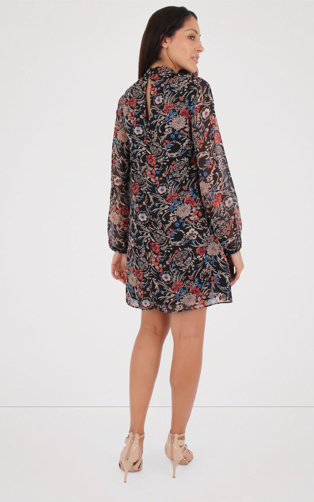 Keyhole Bishop Sleeves Floral Dress by MISSTRUTH