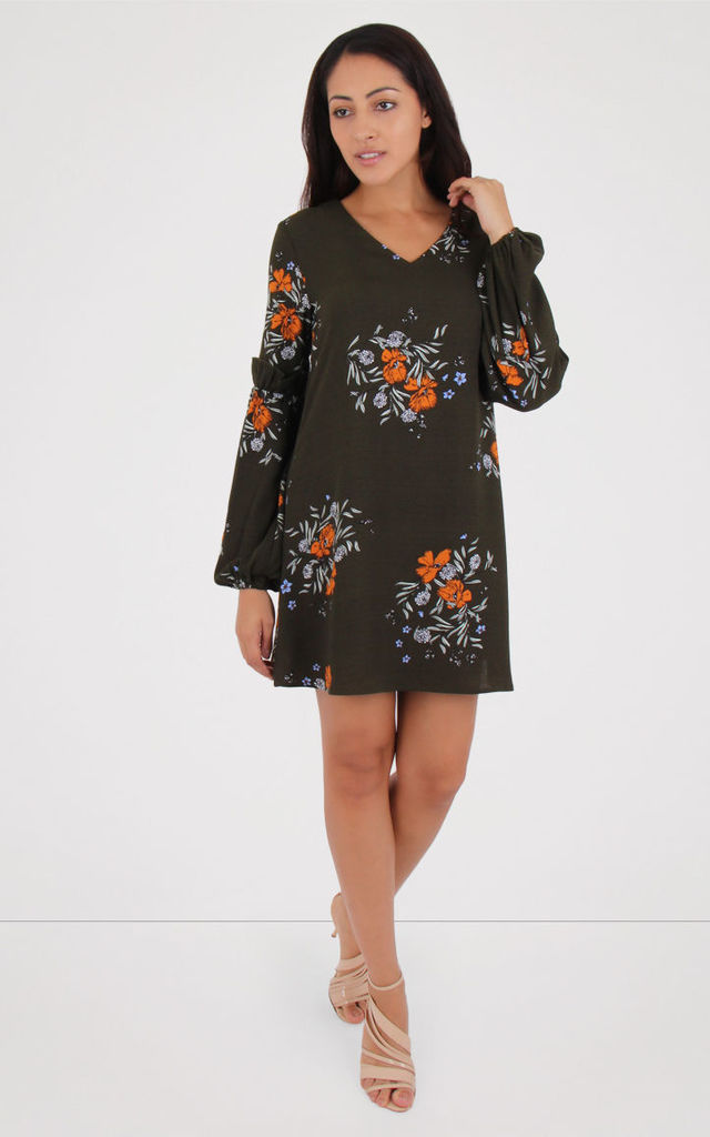 Floral Print Bishop Sleeve Dress by MISSTRUTH