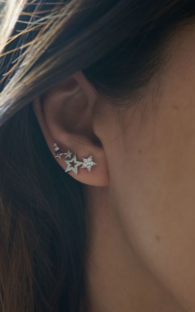 CUBIC ZIRCONIA STARS EAR CLIMBER by EPITOME JEWELLERY