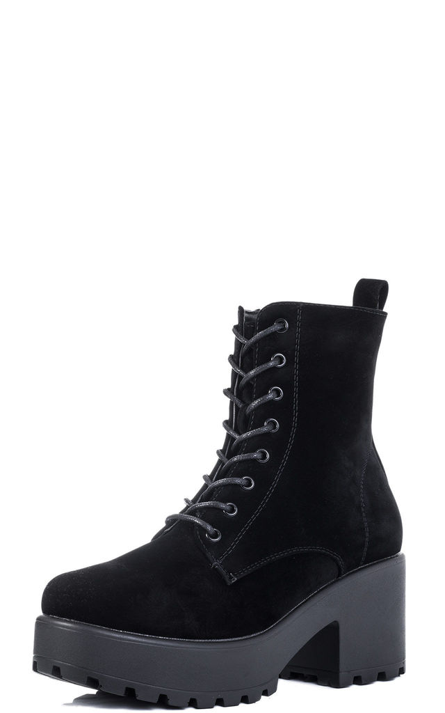 SHOTGUN Cleated Sole Platform Ankle Boots - Black Suede Style by SpyLoveBuy