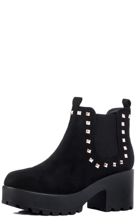 SHOTGUN 2 Cleated Sole Platform Studded Chelsea Ankle Boots - Black Suede Style by SpyLoveBuy