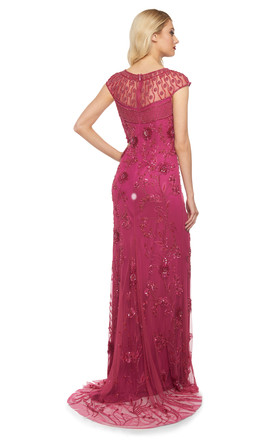 Elizabeth Vintage Inspired Maxi Dress in Raspberry by Gatsbylady London