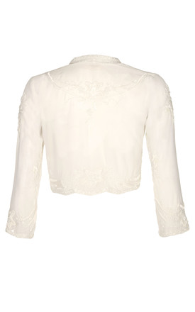 Mary Vintage Inspired Bolero in White by Gatsbylady London