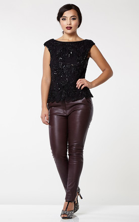 Claudia Genuine Stretch Fitted 100% Leather Trousers in Burgundy by Gatsbylady London