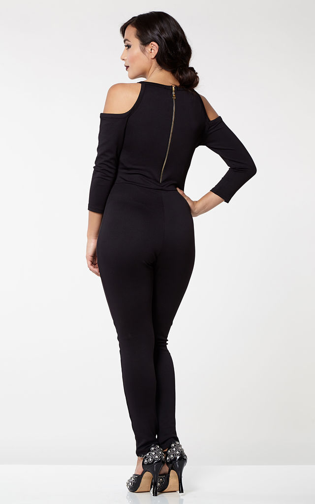 Emily Bohemian Bodycon Halter Neck Cold Shoulder Jumpsuit in Black by Gatsbylady London