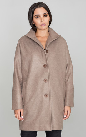 Oversized Button Up Coat in Mocha Brown by FIGL