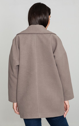 Mocca Collar Coat with Pockets by FIGL