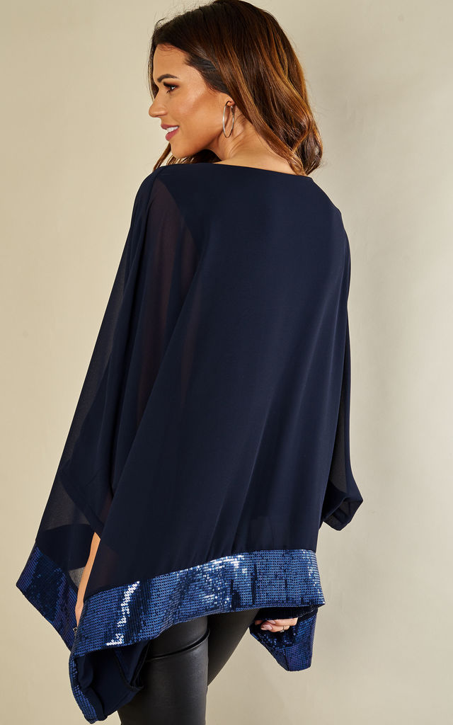 Navy Sequin Hem Batwing Top by Lilah Rose