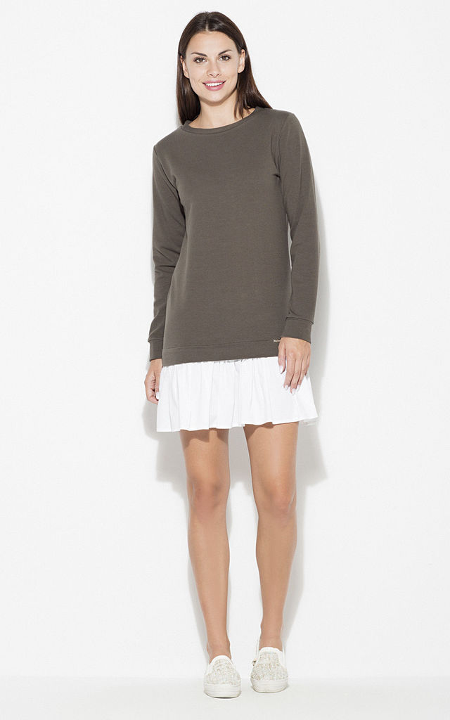 Olive Long Sleeve Dress With Frill by KATRUS