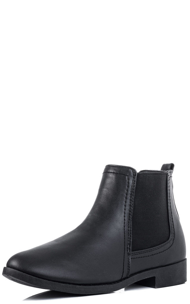 BEST FRIEND Flat Chelsea Ankle Boots - Black Leather Style by SpyLoveBuy