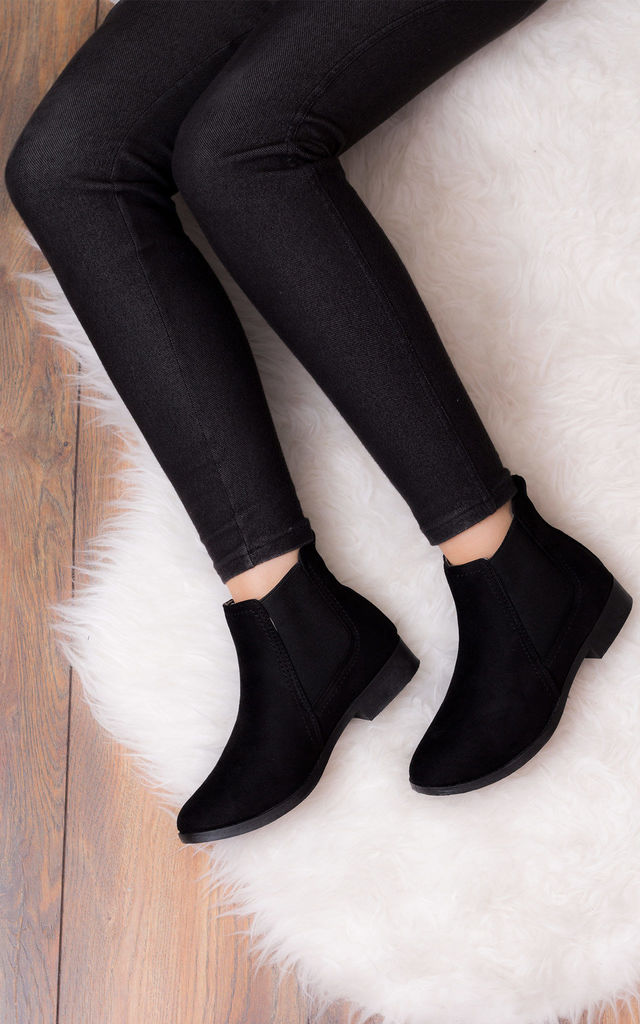 BEST FRIEND Flat Chelsea Ankle Boots - Black Suede Style by SpyLoveBuy