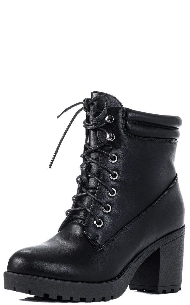 TAKE KUDOS Lace Up Block Heel Ankle Boots Shoes - Black Leather Style by SpyLoveBuy
