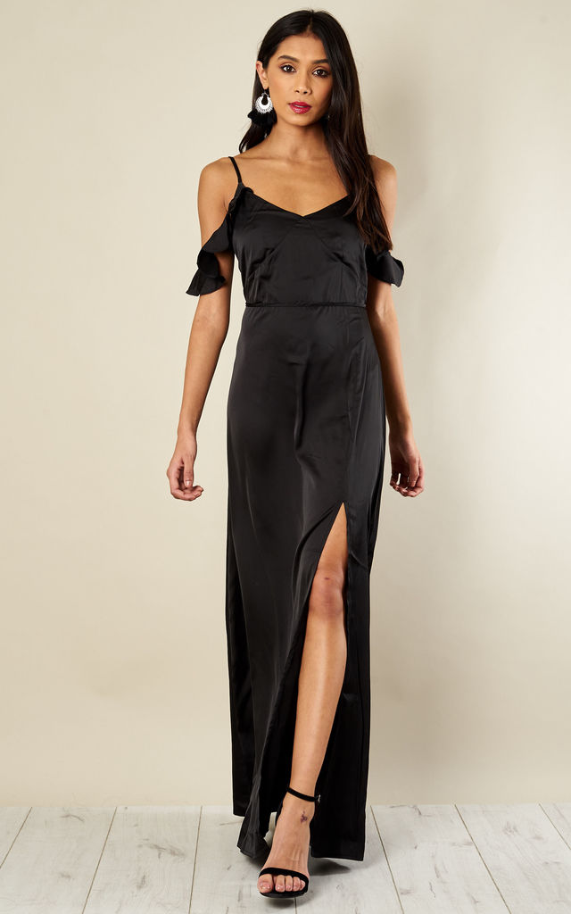 Black Frill Strappy Dress by Glamorous