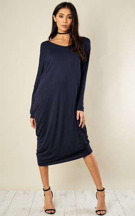 Navy Scoop Neck Batwing Dress by Bella and Blue Product photo
