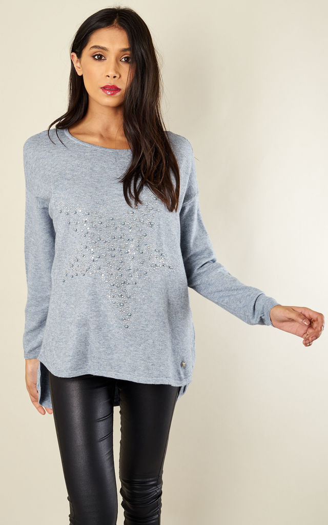 Grey Diamond Bead Star Jumper by Lilah Rose