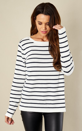 White With Navy Stripes Knit Top by VILA